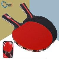 2pcs/lot Table Tennis Bat Racket Double Face Pimples In Long Short Handle Ping Pong Paddle Racket Set
