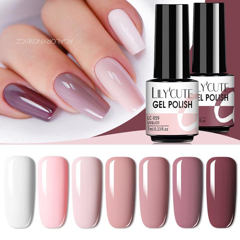 LILYCUTE 7ml Nails Gel Polish Fall Winter Color Long Lasting Hybrid For  Base Top Coat Soak Off UV LED DIY Nail Art Gel