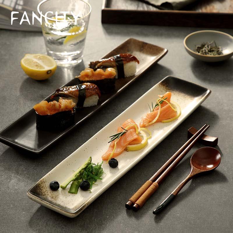 FANCITY-طبق سوشي طويل على الطراز الياباني ، طبق مستطيل ، طبق سمك فاخر ، شواية ، فطائر غربي