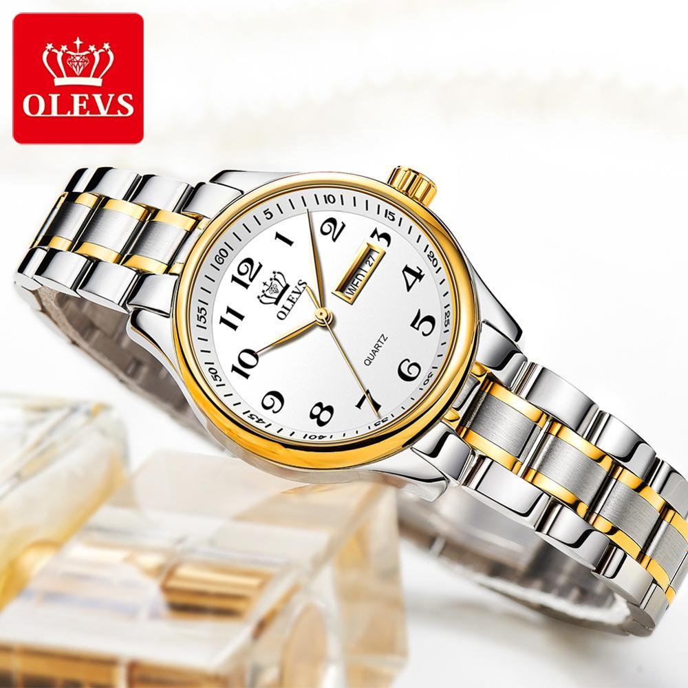 OLEVS كلاسيكي نساء ساعة كوارتز مقاوم للماء الفولاذ المقاوم للصدأ حزام الساعات موضة ساعة نسائية هدية تاريخ على مدار الساعة