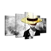 canvas hd prints pictures wall art 5 pieces one piece monkey d luffy paintings anime poster living room decor modular framework