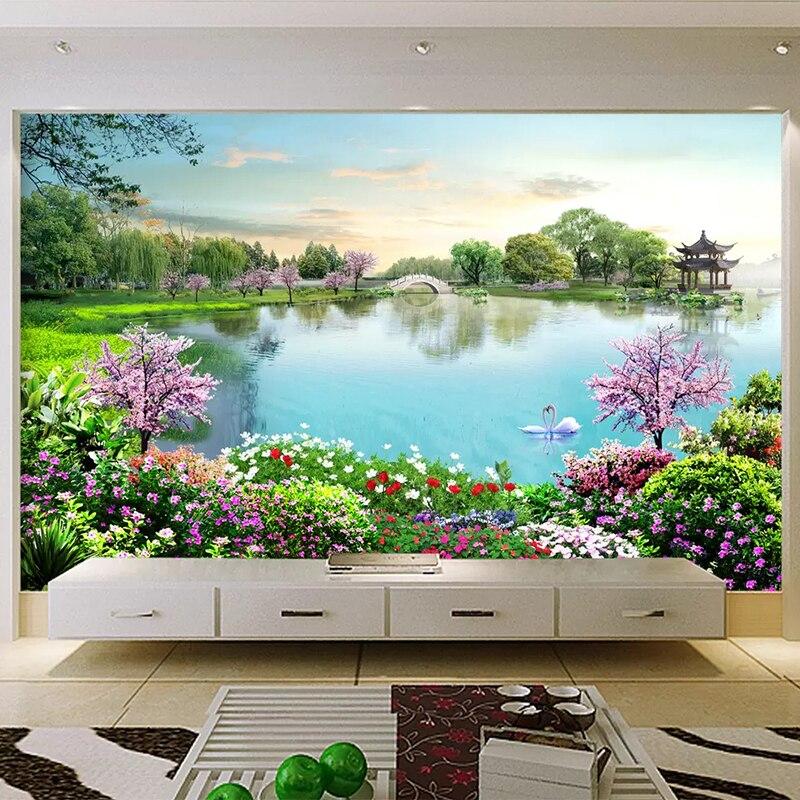 Hermoso Mural de agua de lago papel tapiz 3D Pared de paisaje natural pintura sala de estar turístico punto escénico Fondo decoración de pared