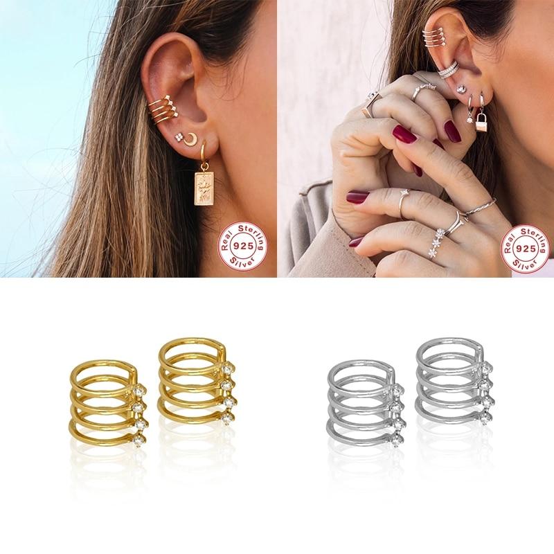 925 prata esterlina luxo hiphop punk orelha cuff brincos para mulheres grampo de orelha no brinco sem brincos elegantes perfurados jóias