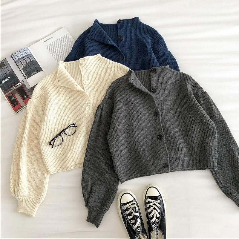 Однобортный свитер с высоким воротником в стиле ретро, женские кардиганы, Новинка осени 2020, корейские свободные вязаные кардиганы с длинным...