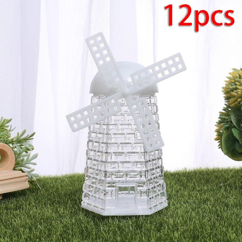 12 Uds. Cajas de dulces forma de molino de viento transparente cajas plásticas para dulces titular de azúcar contenedores dulces caja de alta calidad