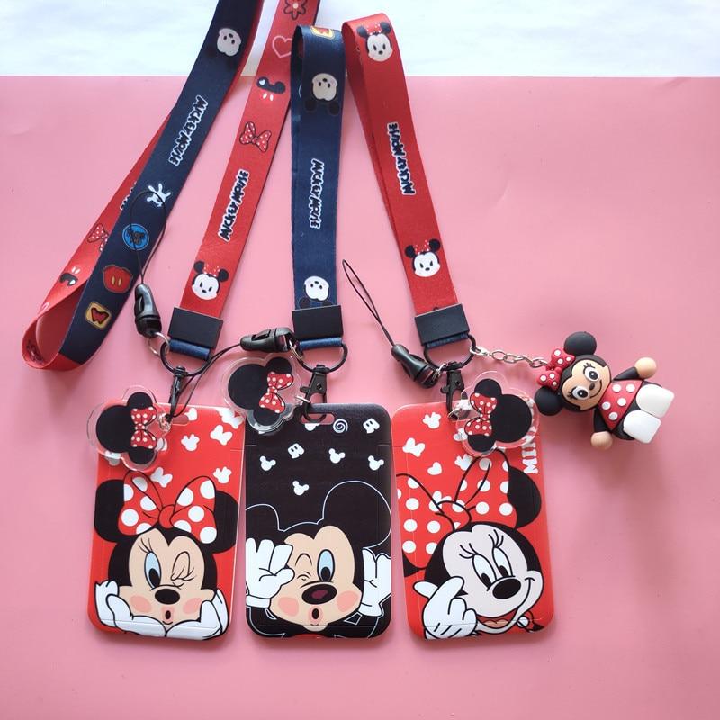 Disney dessin animé Mickey mouse étudiant Campus carte suspendus cou sac porte-carte lanière carte didentité repas carte ornement sac