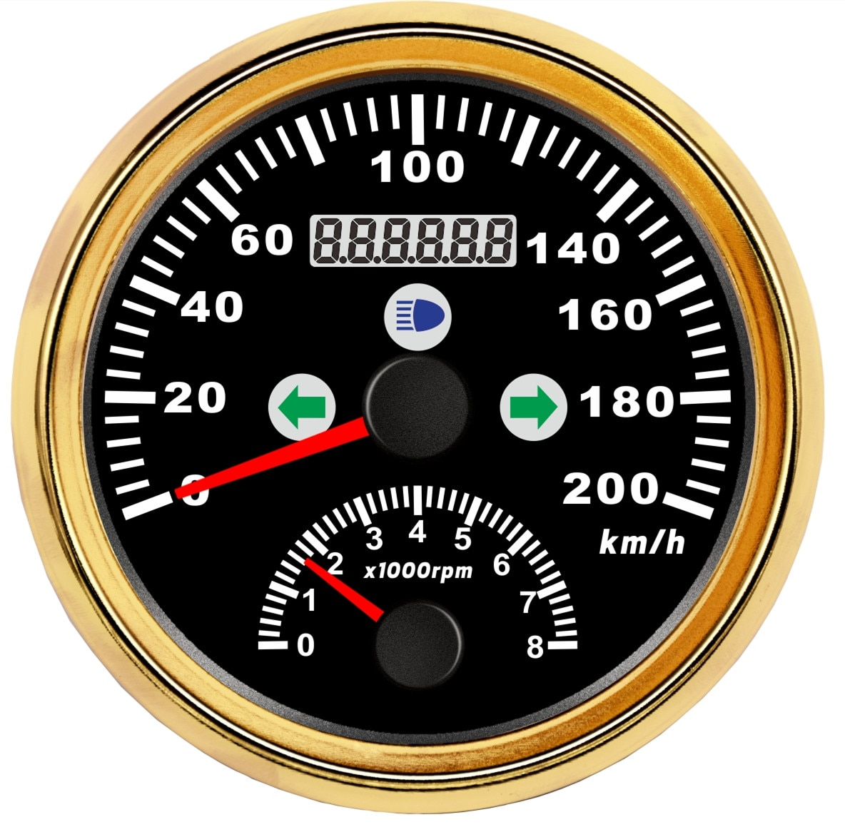 Boat Marine GPS Speedometer 200KMH With Turning Light High Beam Tachometer 8000 RPM Red Led enlarge