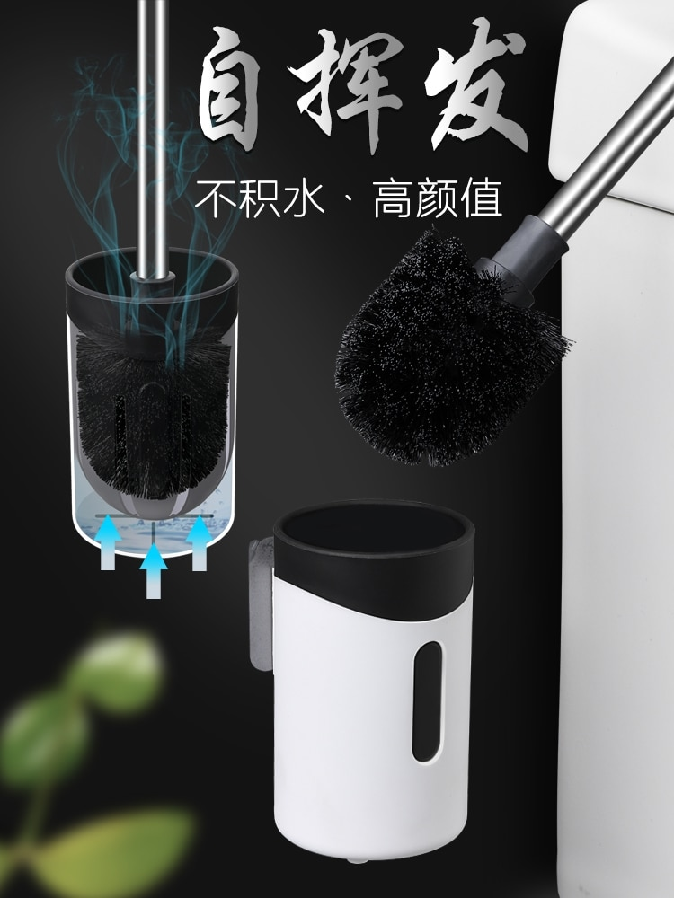 Durable Plastic Toilet Brush Wall Mounted Quick Drying Black Toilet Brush Set Convenient Cepillo Inodoro Cleaning Tools DK50TB enlarge