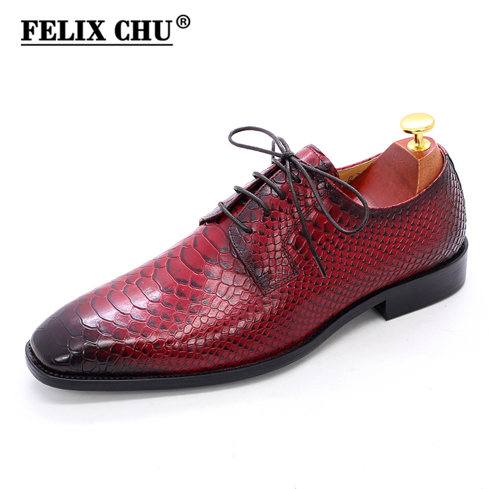 Big Size 6-13 Men Leather Shoes Snake Print Business Dress Derby Classic Red Lace Up Pointed Toe Shoes Mens Oxford Shoes