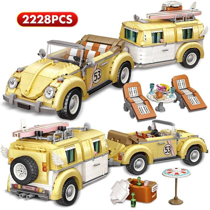 2228 قطعة LOZ سيارة تخييم صغيرة مدينة اللبنات التقنية أصدقاء الخالق MOC مقطورة مركبة الطوب لتقوم بها بنفسك لعب للأطفال فتاة