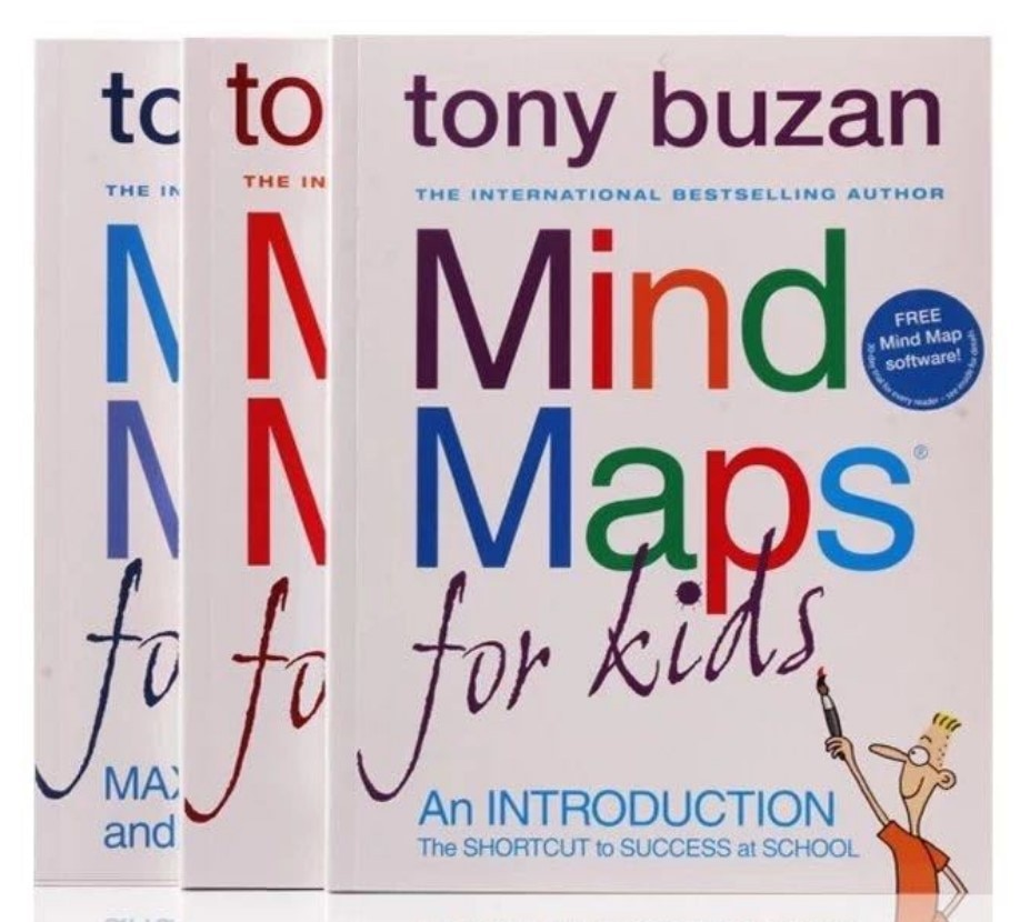 3 books Tony Buzan: Mind Maps for Kids  English Story Picture Books for Children Learn English Reading Books
