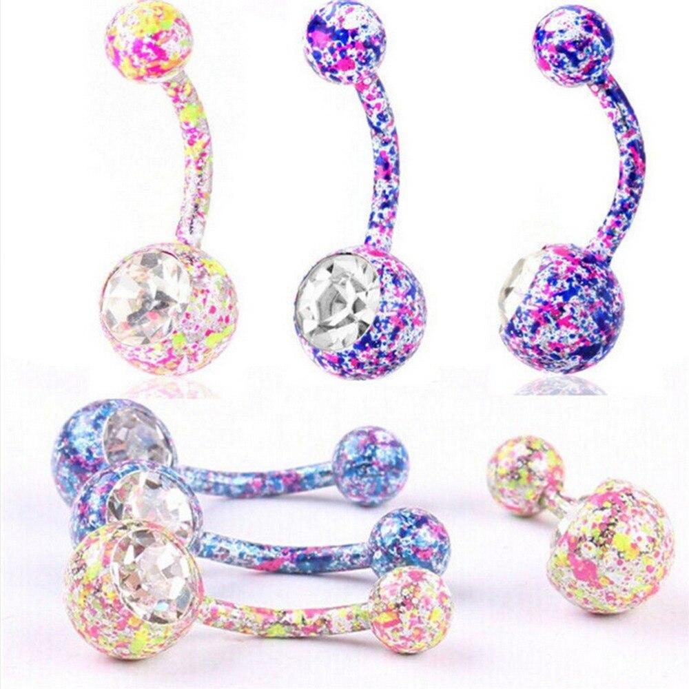 1 pieza Floral colgante botón ombligo anillo ombligo Piercing para el cuerpo joyería sexo Bar moda cristal Diamante de imitación