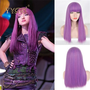 YYsoo Long Silk Straight Purple Mixed Blue Hair With BangsCosplay Wigs Synthetic Hair Anime Wig for Women Halloween Party Show