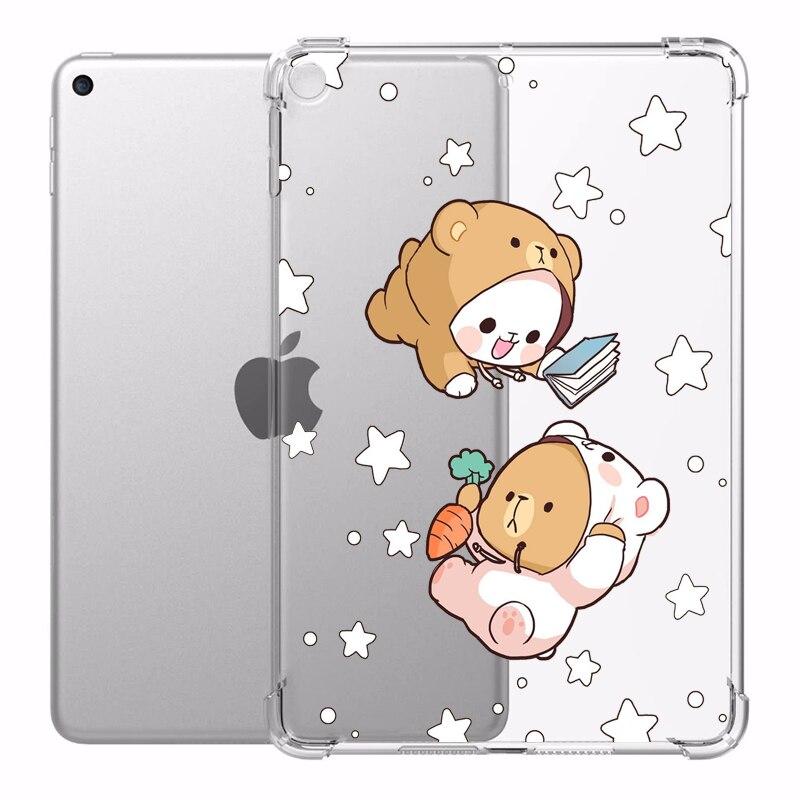 Urso dos desenhos animados anti-queda caso para ipad 7th geração pro 11 caso 2020 capa traseira mini 5 ipad casos bonito ar 2 tablet pro 12 9