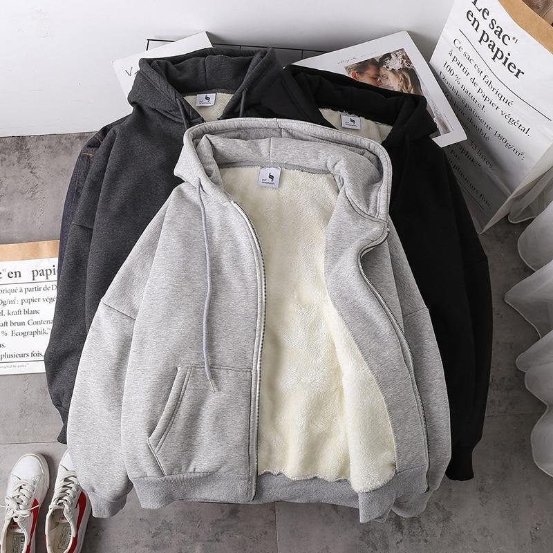 Jacket women solid color hoodies 2020 autumn winter imitation lamb wool korean loose plus velvet thi