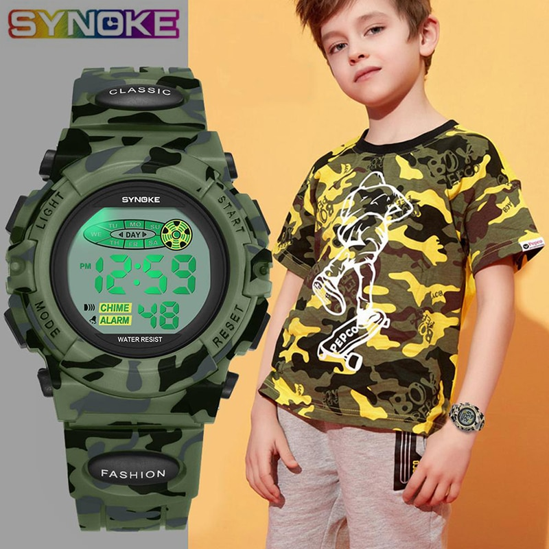 SYNOKE Sports Military Kids Digital Watches Student Children's Watch Fashion Luminous Led Alarm Camo