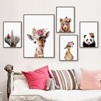 elephant giraffe bear panda duck flower animal wall art canvas painting nordic posters and prints wall pictures kids room decor