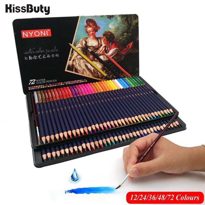 12/24/36/48/72/100 ensemble crayons de couleur en bois solubles dans leau professionnels