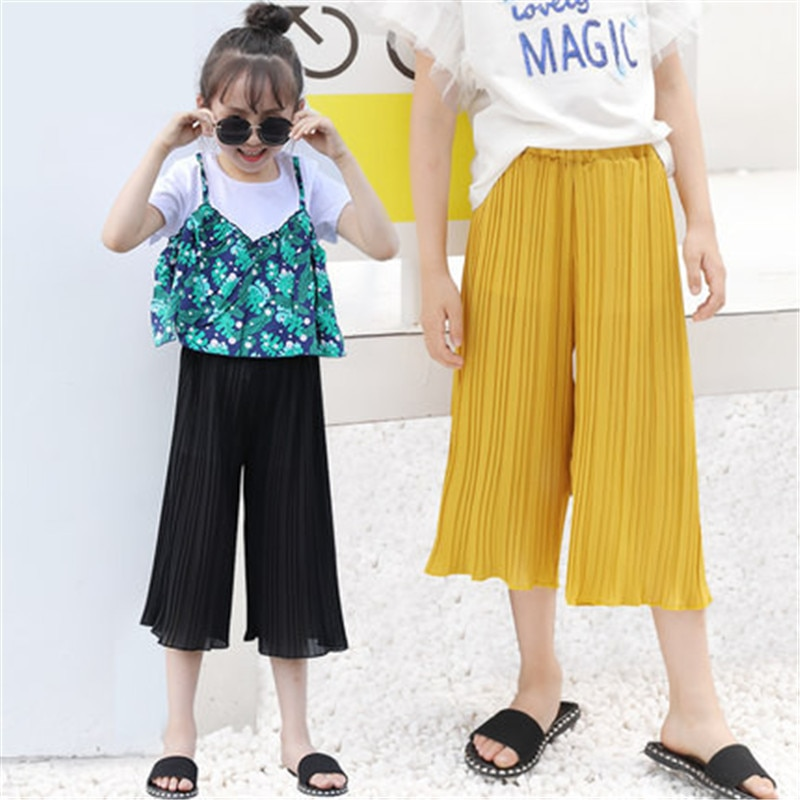 Niños Niñas pantalones de pierna ancha moda 2019 verano otoño niños niñas pantalones plisados Rosa negro dobladillo pantalones sueltos niñas chifón pantalones