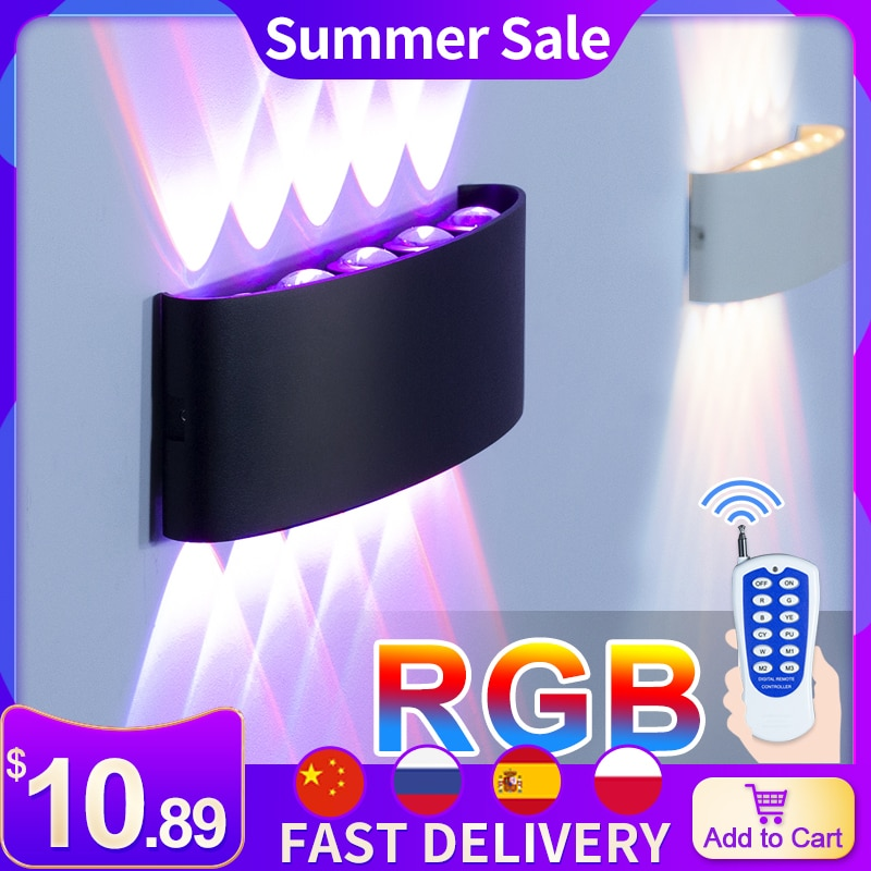 RGB Dimming Led Wall Lamps Room Decoration Lighting Fixture Aluminum No Flicker Remote Control Wall Sconces Bedside Lights