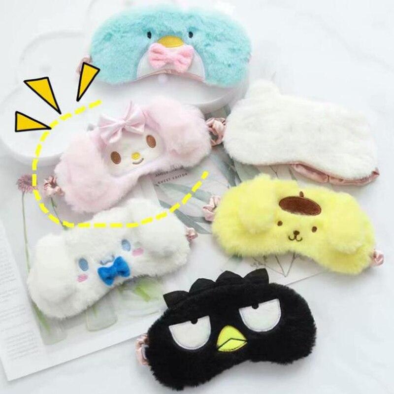 1 Uds Pudding japonés de dibujos animados Cinnamoroll Dog My Melody pingüino de peluche mascarilla para dormir cubierta de viaje para los ojos vendas para los ojos de juguete