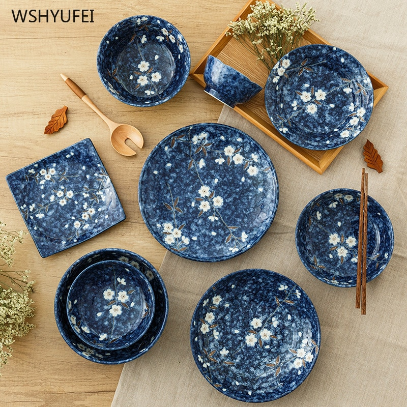 Plato cerámico para cena estilo japonés plato de servicio plato redondo de pastel plato redondo estilo occidental plato redondo de cocina