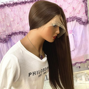 Brown color #6 Lace Front Wig Long Straight Black Wig For Women Heat Resistant Synthetic Hair Middle Parting Natural Looking