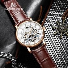 Brand Tourbillon Automatic Mechanical Watch Men Luxury Leather Strap Wrist Watches Clock Waterproof