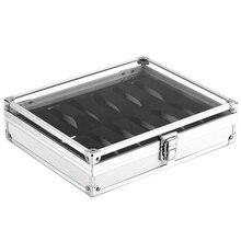 Caja de relojes de aluminio útil con 12 ranuras de rejilla, caja cuadrada de almacenamiento para exhibir relojes de joyería, soporte de reloj rectangular interior de gamuza