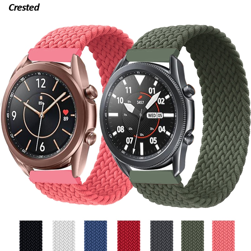 20mm 22mm Braided Solo Loop Band for Samsung Galaxy watch 3/46mm/42mm/active 2/Gear S3 bracelet Huaw