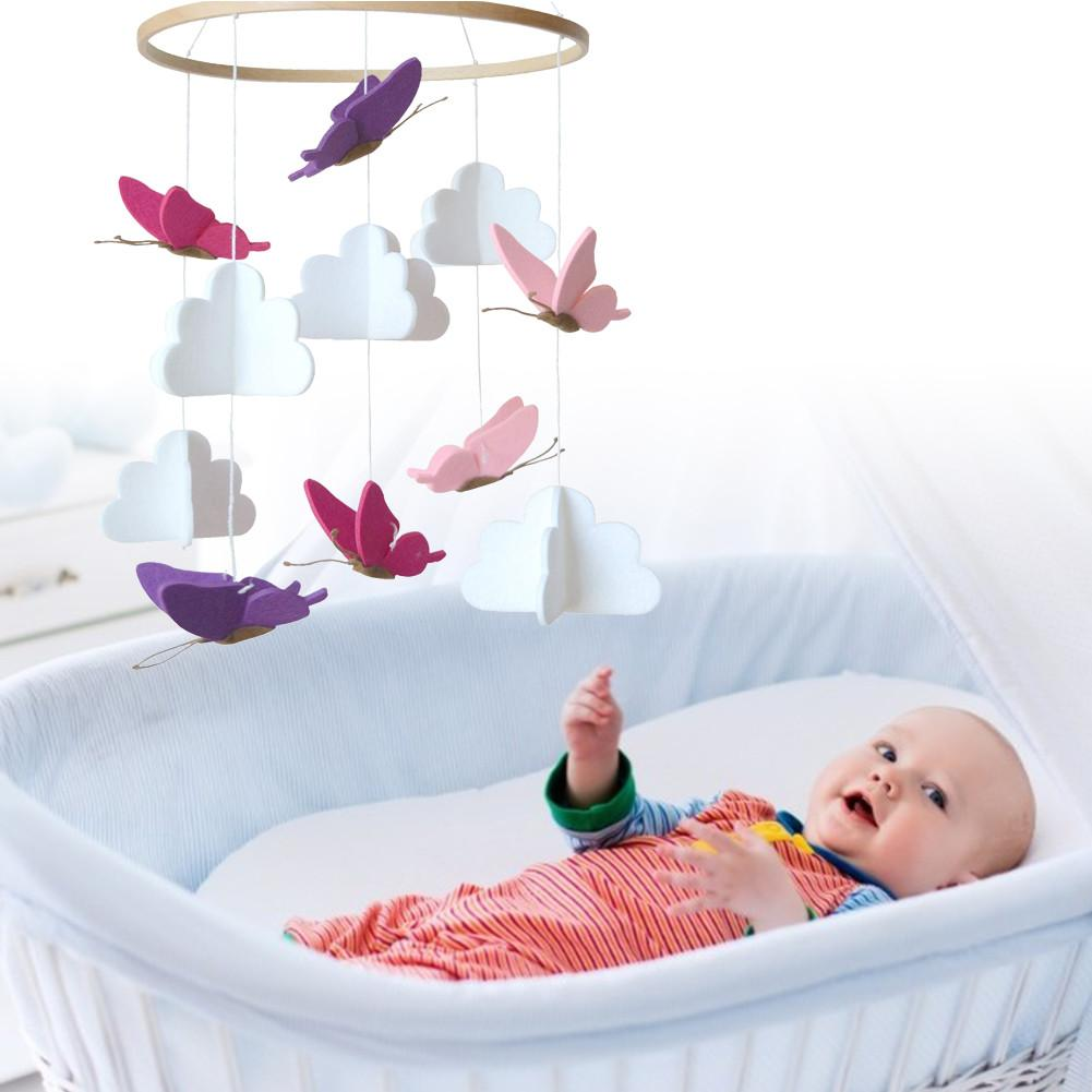 baby toys white rattles bracket set baby crib mobile bed bell toy holder arm bracket wind up music box drop shipping Baby Bed Hanging Rattles Toy Colorful Butterfly Cloud Tree Wind Chime Baby Crib Mobile Bed Bell Toy Rotate Bed Decoration