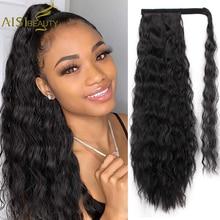 Wavy Ponytail Extension for Women Synthetic Wrap Around Magic Paste Yaki Ponytail Corn Clip in Hairpiece Black Fake Hair