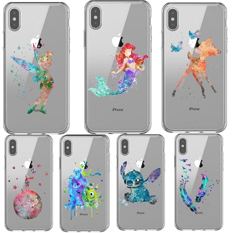 Cinderella Castle Watercolor Art Bambi Art Silicone Phone Case For iPhone X SE 5 5s 6 6s Plus 7 8 Plus Xs XR XS MAX Cover Fundas