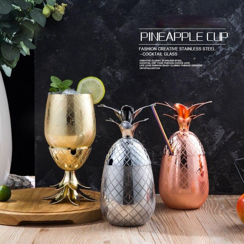كأس للنبيذ الأناناس شكل كوكتيل الزجاج الفولاذ المقاوم للصدأ معدن النحاس كأس الإبداعية شخصية تعديل كوكتيل الزجاج