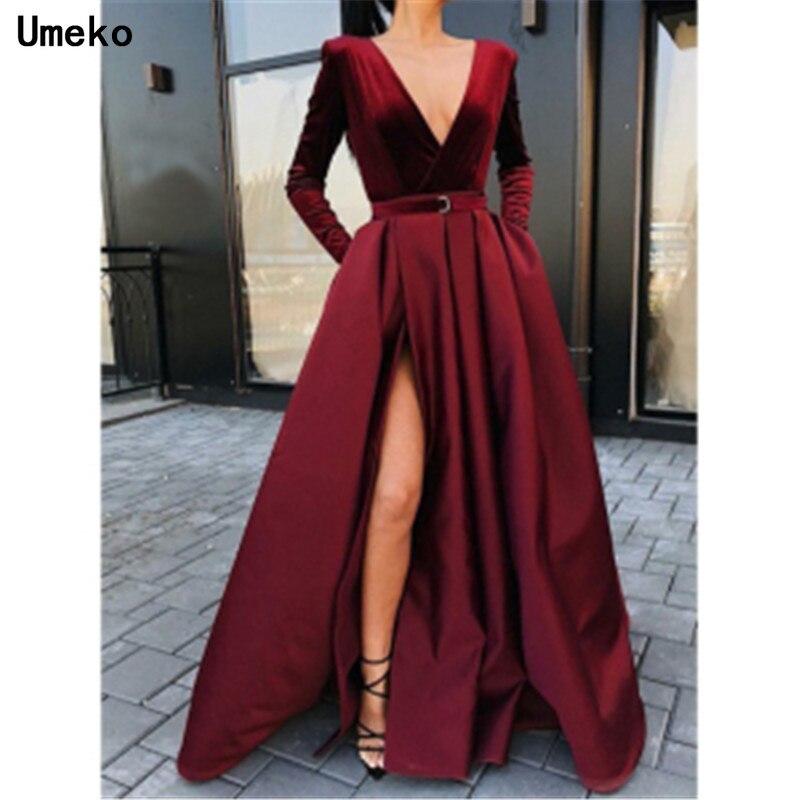 Umeko 2020 Chic Velvet Women Retro V Neck Long Sleeve High Waist High Split Solid Evening Party Ball Prom Gown Formal Long Dress