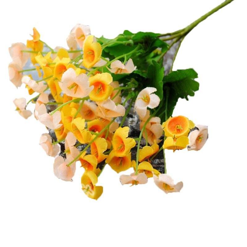 Ramo de flores artificiales de seda de Campánula, decoración para el hogar, fiesta de boda, amarillo