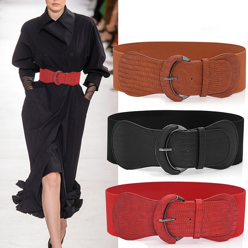 1pcs Fashion Women Wide Elastic Waist Belt Dress Belt Accessories Stretch Elastic Wide Corset Waist Metal Buckle funny rectangle buckle embellished furry wide waist belt