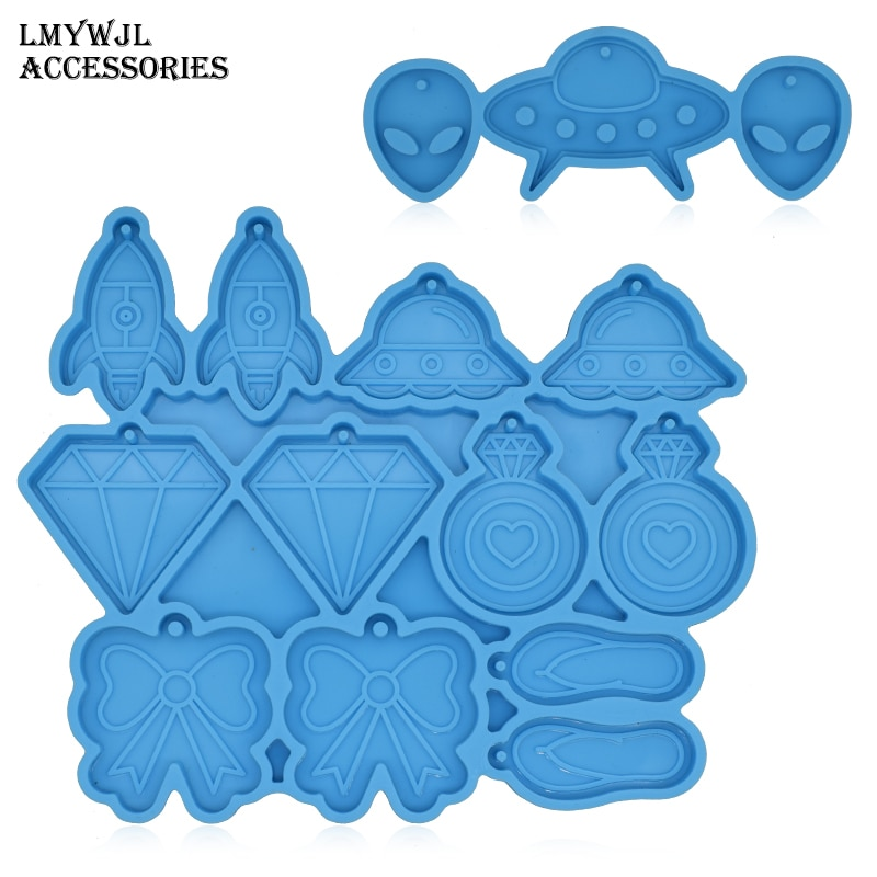 Multi-style Combination Earrings Pendant Epoxy Resin Mold UFO Alien Modeling Silicone Molds for Resin Jewelry Making Resin Diy gemstone jewelry silicone mold is suitable for resin epoxy resin diy craft earrings pendant earrings jewelry making