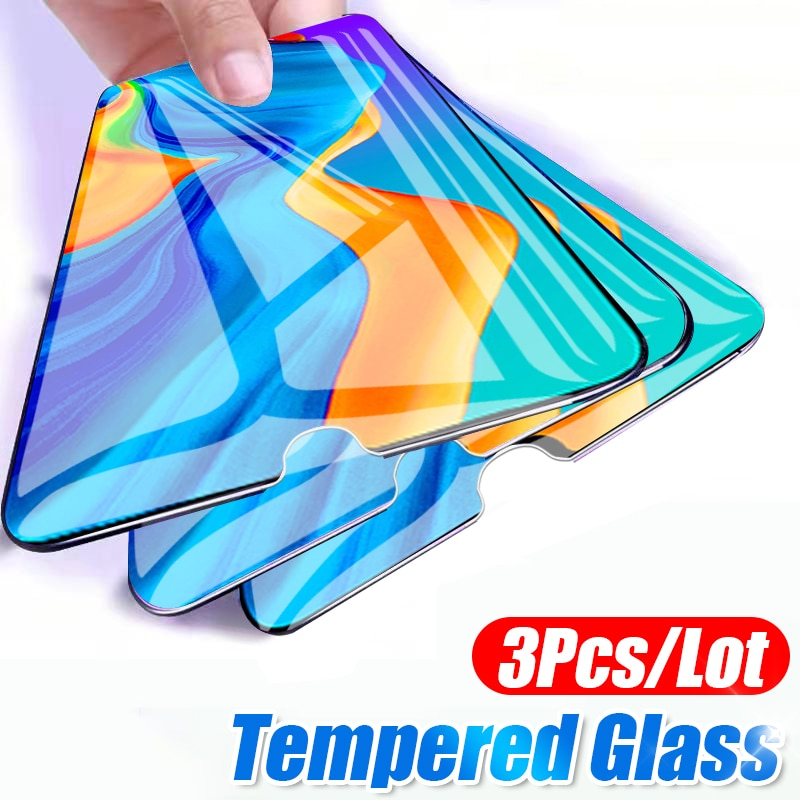 Protetor de tela de vidro temperado para huawei, 3 unidades p20 pro mate 20 10 30 hd de proteção completa p inteligente 2019 película de vidro