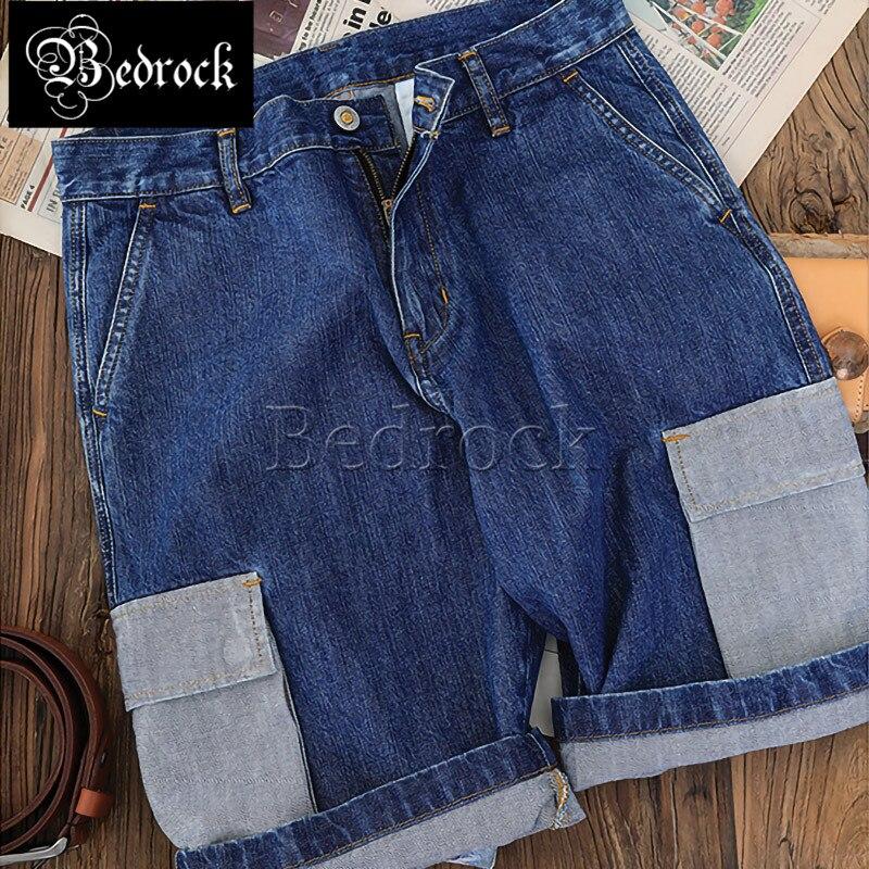 MBBCAR men's 11oz selvedge denim shorts gray pockets stitching blue tooling shorts washed raw denim knee pants casual shorts 581