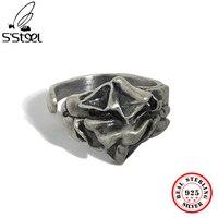 S\'STEEL 925 Sterling Silver Vintage Rings For Women Minimalist Designer Irregular Gothic Adjustable Ring 2021 Trend Fine Jewelry