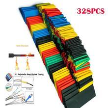 328 Pcs Calore Shrink Tubing 5 Colori 8 Formati Assortiti Tubo Wrap Manica Set Combo