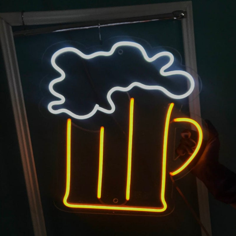 OHANEONK Neon Sign Light Beer Pub Custom Beer Neon Logo Sign for Store Logo Personalized enlarge