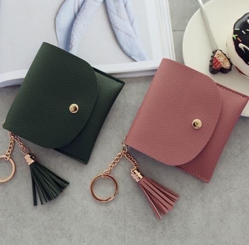 Billeteras para mujer, monedero para damas, borla de cuero Pu y anillo de Metal, Clutch, llaveros finos, portatarjetas, Mini bolsa