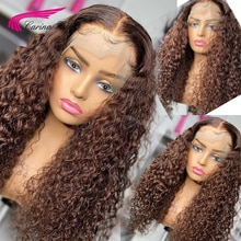 Brown Colored Curly 13X4 Lace Front Human Hair Wigs 180% Brown Brazilian Remy 4*4 Lace Closure Wigs