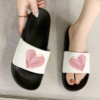 girly heart pink love heart print lady slipper 2021 new women shoes casual flat shoes harajuku slippers summer slipper for woman