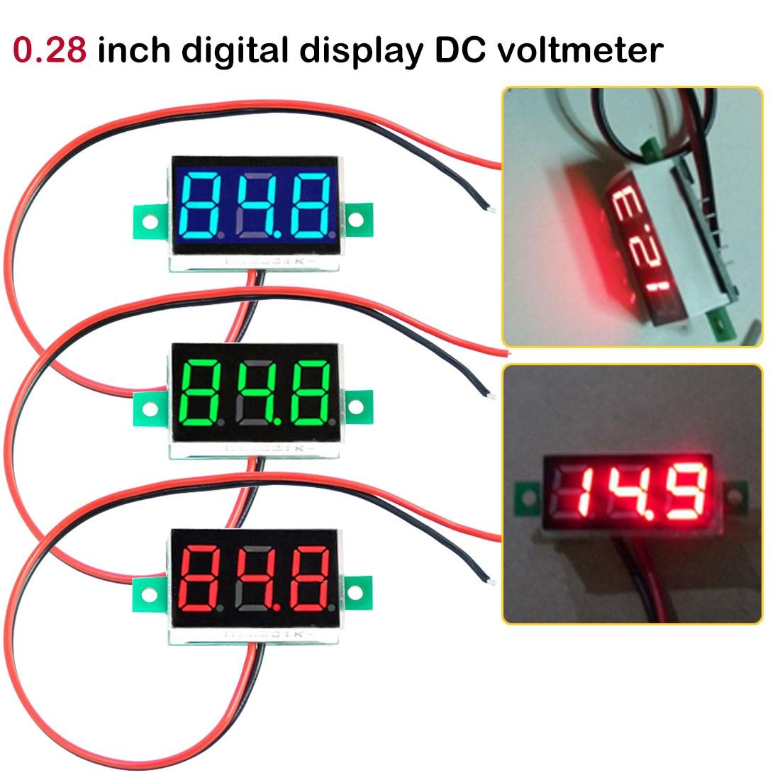 Mini Voltage Tester Meter Digital Voltmeter 0.28 Inch 2.5V-30V LED Screen Electronic Parts Accessories Digital Voltmeter