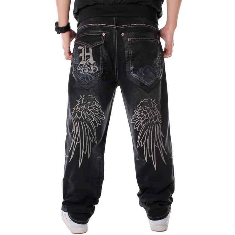 Men Street Dance Hiphop Jeans Fashion Embroidery Black Loose Board Denim Pants Overall Male Rap Hip Hop Jeans Plus Size 30-46