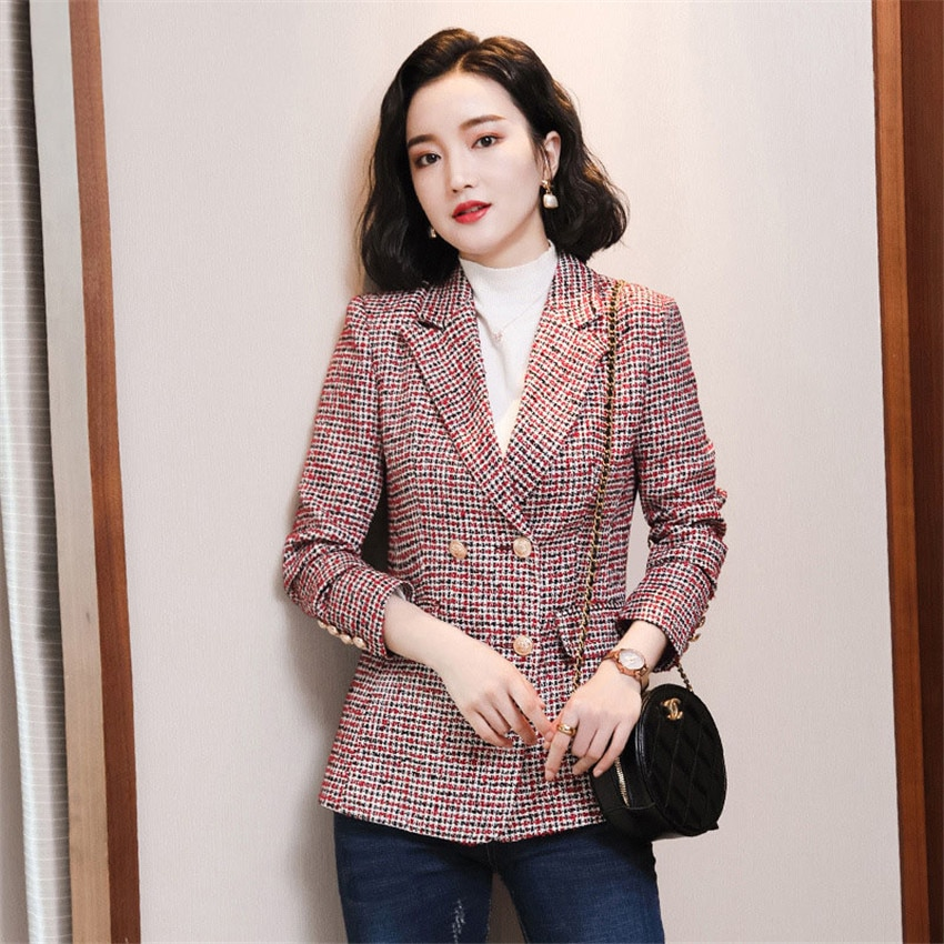 Office Ladies Notched Collar Plaid Women Blazer Double Breasted Autumn New Jacket 2020 Profession Pockets Female Suits Coat office ladies notched collar plaid women blazer double breasted autumn jacket 2021 casual pockets female suits coat