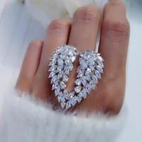 sweet romantic angel wings promise ring marquise cut zircon wedding bridal rings